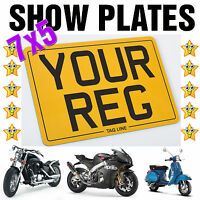 7x5 MOTORCYCLE BIKE SHOW STYLE SMALL REG NUMBER PLATE *FIXINGS INCLUDED*