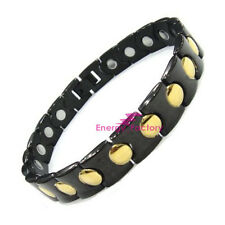 Full Magnetic Black & Gold Bio Energy Osteoarthritis Pain Relief Bracelet