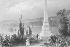 1853 PRINT: Canada Gen. Wolfe's Monument & AD: J. Palmer Dry Goods New Orleans