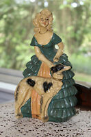 Plaster Statue Southern Belle With Russian Dog, Antebellum Chalkware Woman Retro