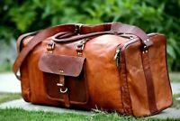 Handmade Large Men's Duffel Genuine Leather Brown Weekend Luggage Gym Travel Bag