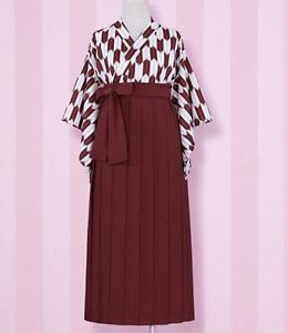 Japanese Woman's Kimono costume Yagasuri Pattern Hakama skirt Red
