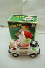 VINTAGE BATTERY OPERATED TOY SANTA CAR BUMP GO ACTION LIGHTS 1980s TAIWAN BOX d
