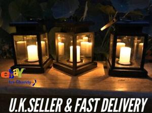 Solar Powered LED Flickering Candle Lantern Waterproof Hanging Outdoor Garden UK