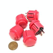 5 Pieces Pink Arcade N/O Momentary 24mm push button Switch round on off 12v C26