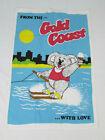 "Vtg Tapestry Wall Hanging Gold Coast Australia Water Skiing Koala 20"" x 29"""