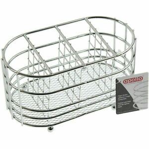 Chrome Cutlery Holder Kitchen Utensil Pot Drainer Caddy Oval Stand Sink Tidy