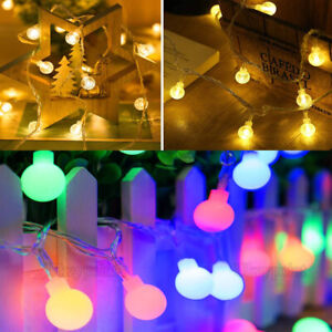 Solar/Battery LEDs Globe Bulb Ball Fairy String Lights Garden Outdoor Waterproof