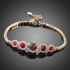 18K Gold GP Made With Blue Swarovski Crystal Elements Red Flower Bangle Bracelet