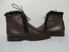 Audley London Brown Leather Lace Ankle Boots Womens Size 35.5 EUR