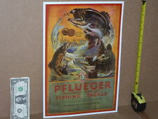 PFLUEGER Fishing Tackle - AKRON, OHIO Sign - Shows Fish Jumping In Air For Bait