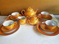 BAVARIAN 15pc Iridescent Lusterware Tea Set Early 20th Century