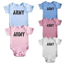 ARMY Cute Cool Short Sleeve Baby Boy Girl Bodysuit Baby Grows Newborn 0-18 M