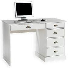 Bureau multi rangements tiroirs pin massif lasuré blanc