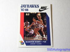 VTG RARE NIKE 1987 1988 SCOOTER BARRY KANSAS JAYHAWKS KU NCAA BASKETBALL CARD RC
