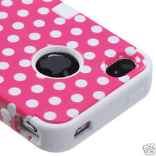 APPLE iPHONE 4 4S MULTI LAYER TUFF HYBRID CASE ACCESSORY DOTS PINK/WHITE