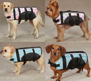 DOG PET PRESERVER LIFE JACKET SAFETY VEST PEACE DOTS FASHION PRINT PINK BLUE