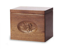 Wood Cremation Urn. Standard model with Black Walnut and a Rose Image