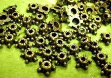 24pc 6mm antique bronze finish metal bead cap-1686
