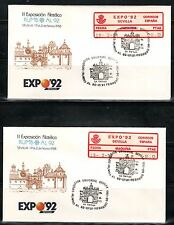ESPAÑA ETIQUETAS  CONMEMORATIVA 1988 EXPO 92 SEVILLA 2SOBRES MAQUINA 20 Y 8