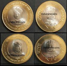 India 2015 BIMETAL Radhakrishnan Lion Variety Mule Coin Set B Mint 10 Rs Unc NEW