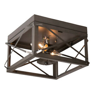 Irvin's Country Tinware Double Ceiling Light with Folded Bars in Kettle Black