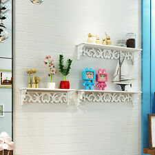 3Pcs White Wooden Wall Mounted Shelf Display Chic Filigree Floating Storage Unit