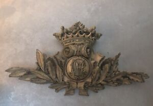 """Vintage Gold Ornate Wall Hanging Plaque, 28"""" Wide, Great over Picture, Bed Crown"""