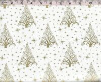 FOREST FROST GLITTER BIRDS DEER TREES SNOWFLAKES FABRIC SILVER GLITTER NO 15