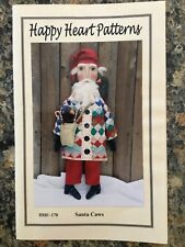 Pattern Primitive Santa Claus Doll w/ Quilt Coat & Crows Uncut New Happy Heart