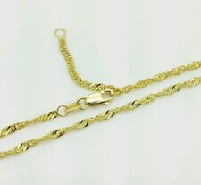 "14k Solid Yellow Gold Diamond Cut Singapore Twist Anklet 9"" 10"""