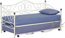 Rio Metal Day Bed Trundle White Cream Black 3FT Single French Style Guest Bed