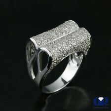 1.26 Ct Round Cut Diamond Right Hand Ring Cocktail Ring In 18K White Gold