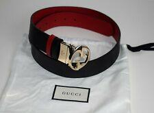 GUCCI Damen Original Gürtel REVERSIBLE Belt Leder schwarz - rot Größe 105