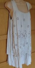 NEW 12 - 14  beige cut out flower embroidered layer sleeveless dress long tunic