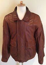 Rare VTG ANDREW MARC Brown Leather Bomber Flight Aviator Jacket Coat Biker Sz XL