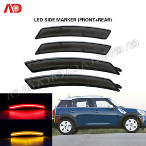 For Mini Cooper R55 R56 R57 R58 R60 R61 Smoked LED Side Marker Light Red Amber
