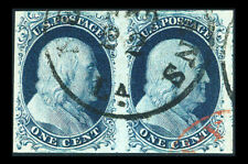 US #7; 1¢ FRANKLIN (II) Imperf PAIR, XF-USED w/RED CANCEL, PF CERT, CV $395