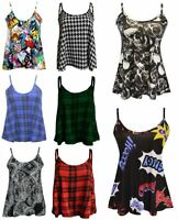 NEW WOMENS PLUS SIZE PRINTED SWING VEST STRAPPY SLEEVELESS FLARED CAMI TOPS