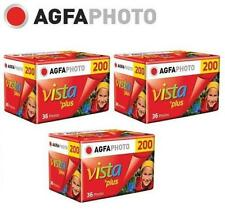 3 Rolls x AgfaPhoto AGFA VISTA Plus 200 ISO 36exp 135 35mm Color Film EXP.2019