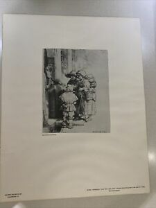 Rembrandt Reproduction etching, Beggars At The Door