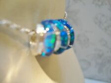 EUROPEAN BRACELET or PENDANT Swizzle Blue Black FIRE OPAL Bead Sterling silver
