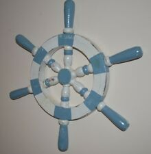 WOOD WALL HANGING SHIP WHEEL DECORATIVE BLUE & WHITE RUSTIC STYLE NAUTICAL