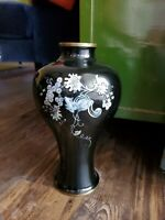 Vintage Asian enamel mother of pearl squirrel vase