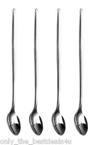 4 x Stainless Steel Long Handle Latte Glass Ice Cream Sundae Coffee Spoons 20cm