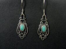 Turquoise Stones Sterling Silver Pierced 925 Design Dangle EARRINGS