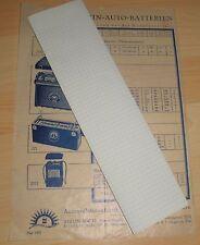 werbung reklame alt sonnenschein auto batterien auszug preisliste blatt 1933