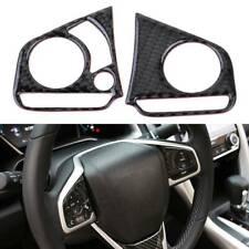 2X Carbon Fiber Steering Wheel Button Cover Trim Decor fit Honda Civic 2016-2019