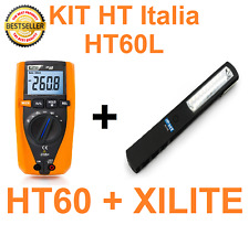 KIT MULTIMETRO DIGITALE PROFESSIONALE + TORCIA RICARICABILE HT60L HT Italia