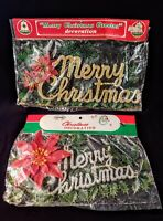 2 Vintage Commodore & Laurel MERRY CHRISTMAS Greeter Decoration Signs Hong Kong
